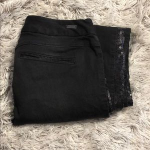 Express low rise black flare jeans, regular fit